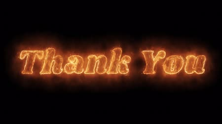 frase : Thank You Word Hot Animated Burning Realistic Fire Flame and Smoke Seamlessly loop Animation on Isolated Black Background. Fire Word, Fire Text, Flame word, Flame Text, Burning Word, Burning Text.