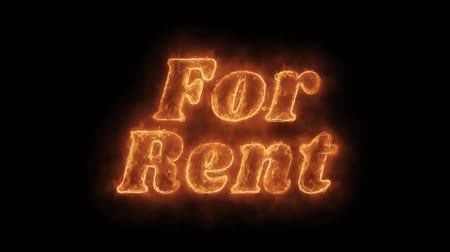 bérlet : For Rent Word Hot Animated Burning Realistic Fire Flame and Smoke Seamlessly loop Animation on Isolated Black Background. Fire Word, Fire Text, Flame word, Flame Text, Burning Word, Burning Text. Stock mozgókép