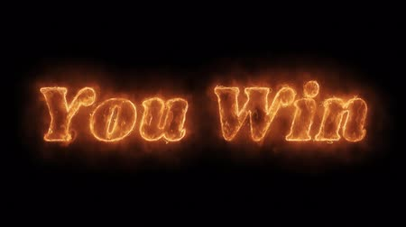 you win : YOU WIN Word Hot Animated Burning Realistic Fire Flame and Smoke Seamlessly loop Animation on Isolated Black Background. Fire Word, Fire Text, Flame word, Flame Text, Burning Word, Burning Text.