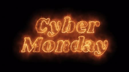monção : Cyber Monday Word Hot Animated Burning Realistic Fire Flame and Smoke Seamlessly loop Animation on Isolated Black Background. Fire Word, Fire Text, Flame word, Flame Text, Burning Word, Burning Text. Stock Footage