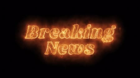 tv channel : Breaking News Word Hot Animated Burning Realistic Fire Flame and Smoke Seamlessly loop Animation on Isolated Black Background. Fire Word, Fire Text, Flame word, Flame Text, Burning Word, Burning Text. Stock Footage