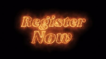 registration : Register Now Word Hot Animated Burning Realistic Fire Flame and Smoke Seamlessly loop Animation on Isolated Black Background. Fire Word, Fire Text, Flame word, Flame Text, Burning Word, Burning Text. Stock Footage