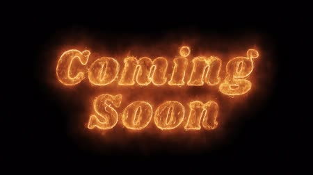 объявлять : Coming Soon Word Hot Animated Burning Realistic Fire Flame and Smoke Seamlessly loop Animation on Isolated Black Background. Fire Word, Fire Text, Flame word, Flame Text, Burning Word, Burning Text.