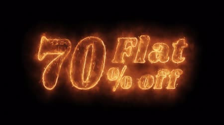 por cento : Flat 70% Percent Off Word Hot Animated Burning Realistic Fire Flame and Smoke Seamlessly loop Animation on Isolated Black Background. Fire Word, Fire Text, Flame word, Flame Text, Burning Word, Burning Text.