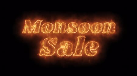 monszun : Monsoon Sale Word Hot Animated Burning Realistic Fire Flame and Smoke Seamlessly loop Animation on Isolated Black Background. Fire Word, Fire Text, Flame word, Flame Text, Burning Word, Burning Text. Stock mozgókép