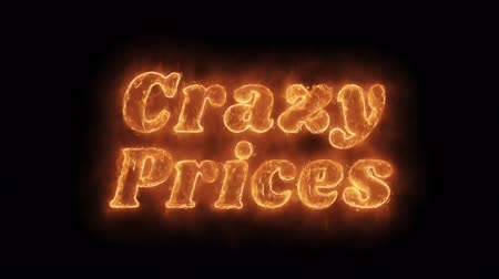 pricetag : Crazy Prices Word Hot Animated Burning Realistic Fire Flame and Smoke Seamlessly loop Animation on Isolated Black Background. Fire Word, Fire Text, Flame word, Flame Text, Burning Word, Burning Text.
