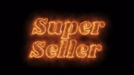 scaffale supermercato : Super Seller Word Hot Animated Burning Realistic Fire Flame and Smoke Seamlessly loop Animation on Isolated Black Background. Fire Word, Fire Text, Flame word, Flame Text, Burning Word, Burning Text.