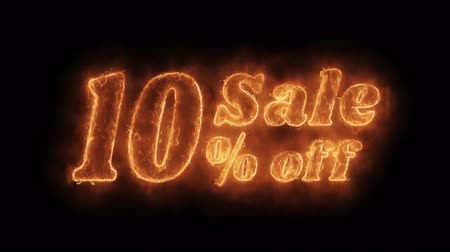 ten : Sale 10% Percent Off Word Hot Animated Burning Realistic Fire Flame and Smoke Seamlessly loop Animation on Isolated Black Background. Fire Word, Fire Text, Flame word, Flame Text, Burning Word, Burning Text.