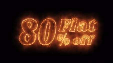 ограничен : Flat 80% Percent Off Word Hot Animated Burning Realistic Fire Flame and Smoke Seamlessly loop Animation on Isolated Black Background. Fire Word, Fire Text, Flame word, Flame Text, Burning Word, Burning Text.