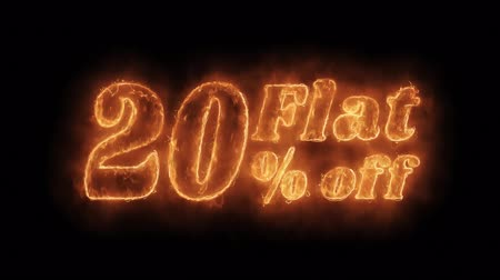 неделя : Flat 20% Percent Off Word Hot Animated Burning Realistic Fire Flame and Smoke Seamlessly loop Animation on Isolated Black Background. Fire Word, Fire Text, Flame word, Flame Text, Burning Word, Burning Text.