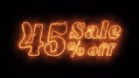 ограничен : Sale 45% Percent Off Word Hot Animated Burning Realistic Fire Flame and Smoke Seamlessly loop Animation on Isolated Black Background. Fire Word, Fire Text, Flame word, Flame Text, Burning Word, Burning Text.