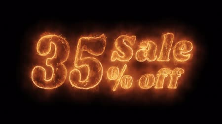 неделя : Sale 35% Percent Off Word Hot Animated Burning Realistic Fire Flame and Smoke Seamlessly loop Animation on Isolated Black Background. Fire Word, Fire Text, Flame word, Flame Text, Burning Word, Burning Text. Стоковые видеозаписи