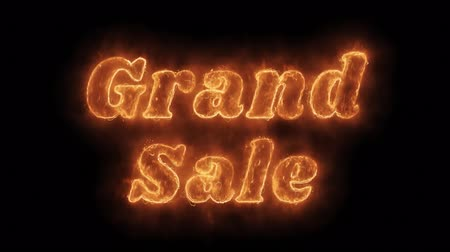 soon : Grand Sale Word Hot Animated Burning Realistic Fire Flame and Smoke Seamlessly loop Animation on Isolated Black Background. Fire Word, Fire Text, Flame word, Flame Text, Burning Word, Burning Text.
