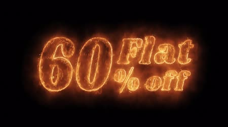 неделя : Flat 60% Percent Off Word Hot Animated Burning Realistic Fire Flame and Smoke Seamlessly loop Animation on Isolated Black Background. Fire Word, Fire Text, Flame word, Flame Text, Burning Word, Burning Text.