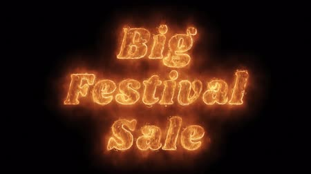 invitacion : Big Festival Sale Word Hot Animated Burning Realistic Fire Flame and Smoke Seamless loop animation sobre fondo negro aislado. Palabra Fuego, Texto Fuego, Palabra Llama, Texto Llama, Palabra Ardiente, Texto Ardiente.