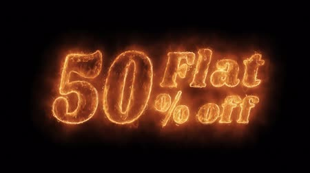 неделя : Flat 50% Percent Off Word Hot Animated Burning Realistic Fire Flame and Smoke Seamlessly loop Animation on Isolated Black Background. Fire Word, Fire Text, Flame word, Flame Text, Burning Word, Burning Text. Стоковые видеозаписи