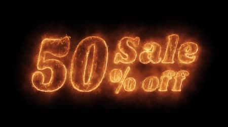 ötvenes : Sale 50% Percent Off Word Hot Animated Burning Realistic Fire Flame and Smoke Seamlessly loop Animation on Isolated Black Background. Fire Word, Fire Text, Flame word, Flame Text, Burning Word, Burning Text.