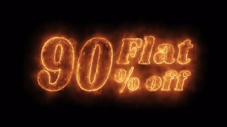 ограничен : Flat 90% Percent Off Word Hot Animated Burning Realistic Fire Flame and Smoke Seamlessly loop Animation on Isolated Black Background. Fire Word, Fire Text, Flame word, Flame Text, Burning Word, Burning Text. Стоковые видеозаписи