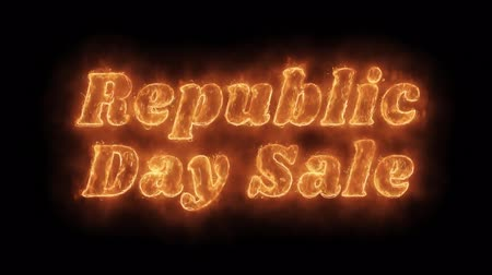üç renkli : Republic Day Sale Word Hot Animated Burning Realistic Fire Flame and Smoke Seamlessly loop Animation on Isolated Black Background. Fire Word, Fire Text, Flame word, Flame Text, Burning Word, Burning Text.