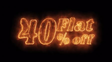 értékesítés : Flat 40% Percent Off Word Hot Animated Burning Realistic Fire Flame and Smoke Seamlessly loop Animation on Isolated Black Background. Fire Word, Fire Text, Flame word, Flame Text, Burning Word, Burning Text.