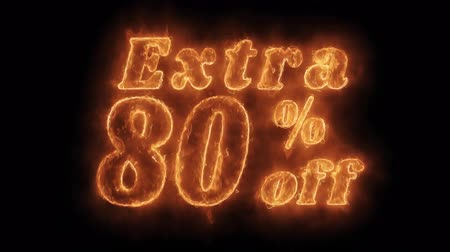 huge sale : Extra 80% Percent Off Word Hot Animated Burning Realistic Fire Flame and Smoke Seamlessly loop Animation on Isolated Black Background. Fire Word, Fire Text, Flame word, Flame Text, Burning Word, Burning Text.