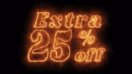 százalék : Extra 25% Percent Off Word Hot Animated Burning Realistic Fire Flame and Smoke Seamlessly loop Animation on Isolated Black Background. Fire Word, Fire Text, Flame word, Flame Text, Burning Word, Burning Text.