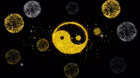 estilizado : Yin Yang Taoism buddhism daoism religion Icon on Glitter Golden Particles Effect Firework. Object, Shape, Text, Design, Element, symbol 4K Animation.
