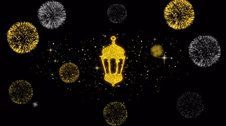 kültür : Islamic, islam, religious, Monument, Monuments Icon on Glitter Golden Particles Effect Firework. Object, Shape, Text, Design Element symbol 4K Animation
