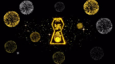 pictograma : Jain hand. Ahimsa Indian, jainisms, hindu religious Icon on Glitter Golden Particles Effect Firework. Object, Shape, Text, Design, Element, symbol 4K Animation. Stock Footage