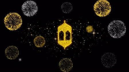 cami : Islamic, islam, religious, Monument, Monuments Icon on Glitter Golden Particles Effect Firework. Object, Shape, Text, Design Element symbol 4K Animation