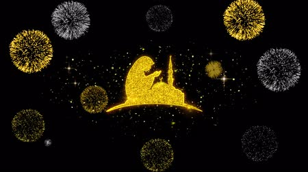 creed : Dua,namaz,praying,islam,islamic Icon on Glitter Golden Particles Effect Firework. Object, Shape, Text, Design Element symbol 4K Animation