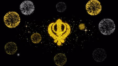 редактируемые : Khanda, religion, religious symbol, sikhism Icon on Glitter Golden Particles Effect Firework. Object, Shape, Text, Design, Element symbol 4K Animation