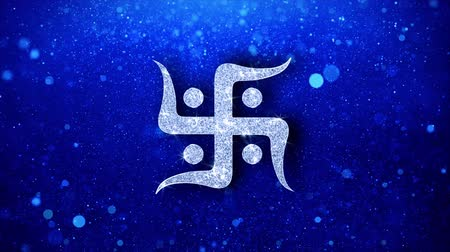 kumkum : Hindu, holy, indian, religion, swastika, swastika Icon White Blinking Glitter Glowing Shine on Blue Particles. Shape, Web, Text , Design, Element Symbol 4K Loop Animation Stock Footage