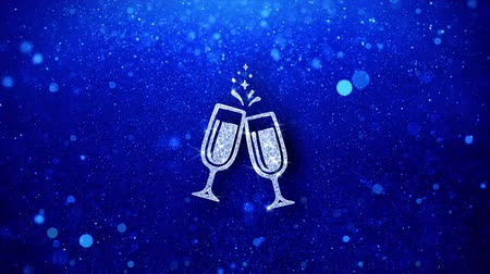 kabarcıklı : Cheers Celebration Toast Two Glasses Champagne Icon White Blinking Glitter Glowing Shine on Blue Particles. Shape, Web, Text , Design, Element, Symbol 4K Loop Animation.