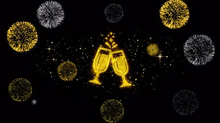champagne flute : Cheers Celebration Toast Two Glasses Champagne Icon on Glitter Golden Particles Effect Firework. Object, Shape, Text, Design, Element, symbol 4K Animation.