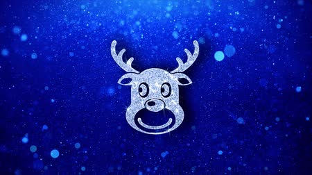 agancs : Christmas Reindeer Xmas Deer Icon White Blinking Glitter Glowing Shine on Blue Particles. Shape, Web, Text , Design, Element, Symbol 4K Loop Animation. Stock mozgókép