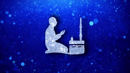 creed : Islamic, pray, prayer, ramadan, religion Icon White Blinking Glitter Glowing Shine on Blue Particles. Shape, Web, Text , Design, Element, Symbol 4K Loop Animation.
