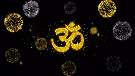 felsefe : Hinduism, meditation, om, yoga hindu symbol, indian religion Icon on Glitter Golden Particles Effect Firework. Object, Shape, Text, Design, Element, symbol 4K Animation. Stok Video