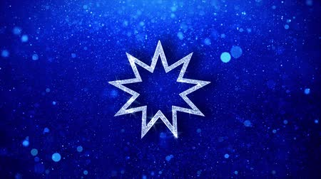 eşitlik : Bahai Nine pointed star Bahaism Icon White Blinking Glitter Glowing Shine on Blue Particles. Shape, Web, Text , Design, Element, Symbol 4K Loop Animation. Stok Video