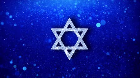 pascha : David The Jewish star Religion Icon White Blinking Glitter Glowing Shine on Blue Particles. Shape, Web, Text , Design, Element, Symbol 4K Loop Animation.