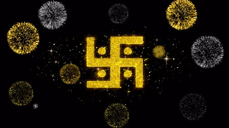kumkum : Hindu, holy, indian, religion, swastika, swastika Icon on Glitter Golden Particles Effect Firework. Object, Shape, Text, Design Element symbol 4K Animation