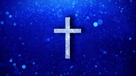 crucified : Church Cross Christianity Religion Icon White Blinking Glitter Glowing Shine on Blue Particles. Shape, Web, Text , Design, Element, Symbol 4K Loop Animation. Stock Footage