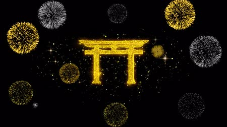 pictograma : Shinto symbol Torii religion Icon on Glitter Golden Particles Effect Firework. Object, Shape, Text, Design, Element, symbol 4K Animation.