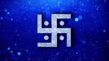 motívum : Hindu, holy, indian, religion, swastik, swastika Icon White Blinking Glitter Glowing Shine on Blue Particles. Shape, Web, Text , Design, Element Symbol 4K Loop Animation Stock mozgókép