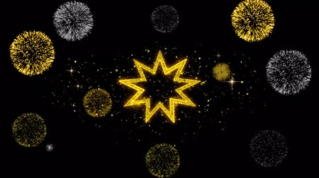 persie : Bahai Nine pointed star Bahaism Icon on Glitter Golden Particles Effect Firework. Object, Shape, Text, Design, Element, symbol 4K Animation.