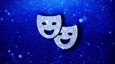 маскарад : Drama, play, theater mask Icon White Blinking Glitter Glowing Shine on Blue Particles. Shape, Web, Text , Design, Element, Symbol 4K Loop Animation.