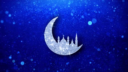 mesquita : Islamic mosque Moon ramadan Icon White Blinking Glitter Glowing Shine on Blue Particles. Shape, Web, Text , Design, Element, Symbol 4K Loop Animation.