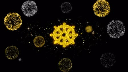 karma yoga : Wheel of Dharma Buddhism religion Icon on Glitter Golden Particles Effect Firework. Object, Shape, Text, Design, Element, symbol 4K Animation.