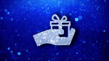подарок : Birthday, box, gift, giftbox, hand, give Icon White Blinking Glitter Glowing Shine on Blue Particles. Shape, Web, Text , Design, Element Symbol 4K Loop Animation