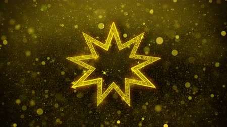 perser : Bahai Neun spitze Sterne Bahaism Icon Golden Glitter Glowing Lights Shine Particles. Objekt, Form, Web, Design, Element, Symbol 4K-Loop-Animation.
